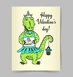 Sketch crocodile girl vector