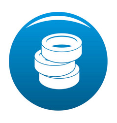 Stack of tire icon blue vector