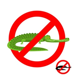 Stop crocodile Prohibited alligator Strikethrough vector