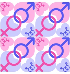 symbols mars and venus with blue and pink vector image