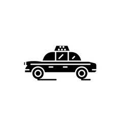 taxi car black icon sign on isolated vector image