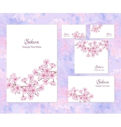 Template corporate identity with sakura vector image