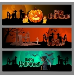 Three horizontal cards graveyard in Halloween vector