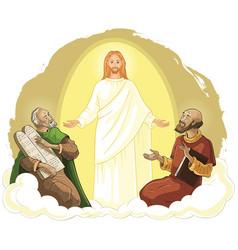 Transfiguration jesus christ elijah moses vector