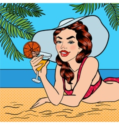 Tropical Paradise Woman with Cocktail Pin Up Girl vector