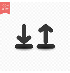 Upload and download icon simple flat style vector