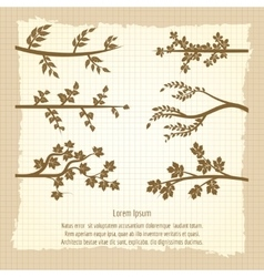 Vintage poster with tree branches silhouette vector