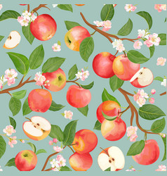 watercolor blooming apple seamless pattern vector image