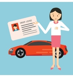woman holding show driver driving license in front vector image