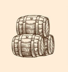 Wood old barrel vector