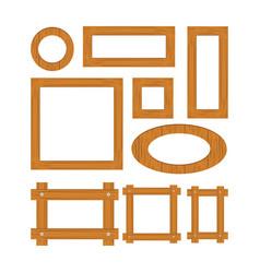 Wooden frame set cartoo vector