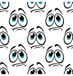 Comics faces with sad eyes seamless pattern vector image