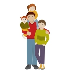 Father with three children Cartoon vector image vector image
