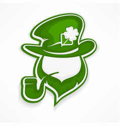 leprechaun with pipe on white vector image vector image