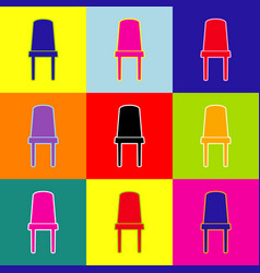 office chair sign pop-art style colorful vector image vector image