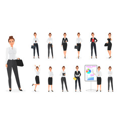 set of business woman character office vector image