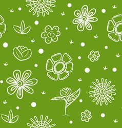 Spring green background with flowers vector image