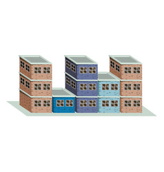 colorful image realistic set buildings with brick vector image