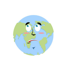 Earth surprise emoji planet amaze emotion isolated vector