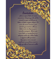 Gold ornamental card with antique luxury blue and vector image