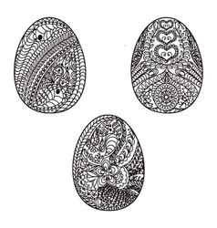 Hand drawn easter eggs for coloring book vector image vector image