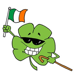 Happy Shamrock Carrying A Cane And Waving An Flag vector image
