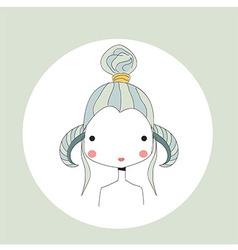 Horoscope Aries sign girl head vector image