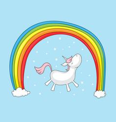 unicorn with rainbow vector image vector image