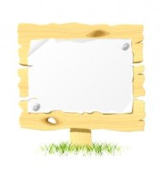 wooden billboard with blank paper vector image