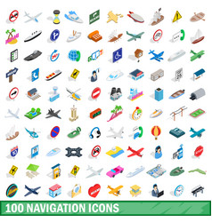 100 navigation icons set isometric 3d style vector image vector image