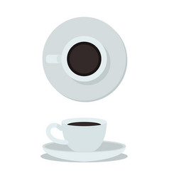 coffee cup isolated on white background top view vector image vector image