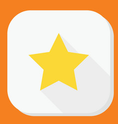 yellow star icon with long shadow modern simple vector image