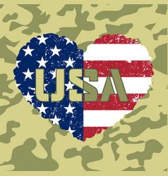 american flag heart military vector image