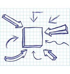 Arrows and frames sketchy elements vector image