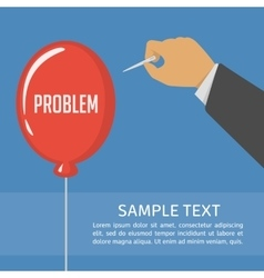 Pricking red balloon with needle vector image vector image