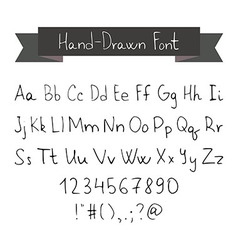 Thin Ink Black Pen Hand Drawn Font vector image