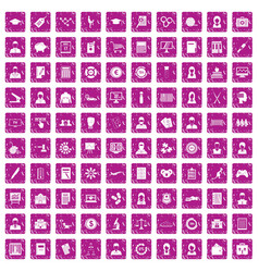 100 statistic data icons set grunge pink vector