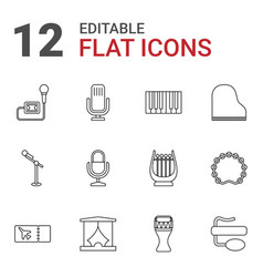 12 concert icons vector image