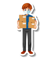 a sticker template with courier man in uniform vector image