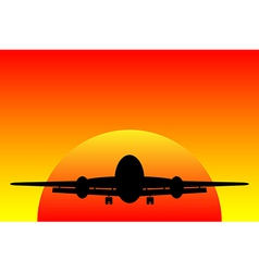 Airplane at sunset vector image
