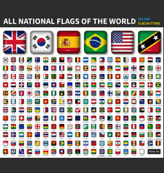 All national flags of the world shiny convex vector