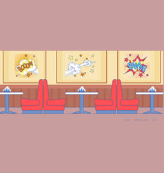 American diner interior design with red couch vector