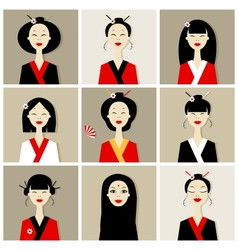Asian women portraits collection for your design vector image