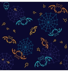 Bats and web Halloween seamless background vector image