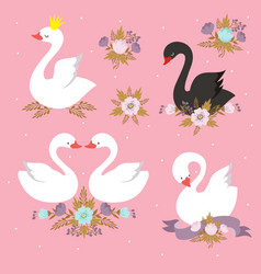 Beautiful white princess swan with crown cartoon vector