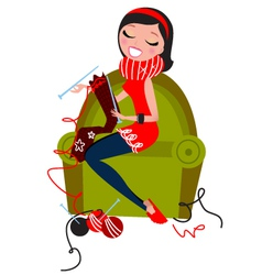 beautiful woman knitting vector image