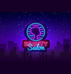 beauty salon sign design template beauty vector image