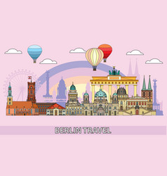 berlin colorful line art 3 vector image