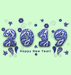 Blue patterned painted figures 2019 happy new vector