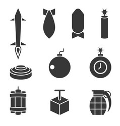 Bomber and dynamite icons set vector
